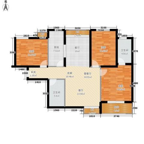 天朗大兴郡二期瀚苑3室1厅2卫1厨118.00㎡户型图