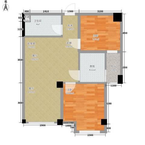 雍晟时代公馆2室0厅1卫1厨65.00㎡户型图