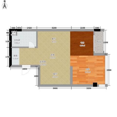 雍晟时代公馆1卫0厨45.00㎡户型图