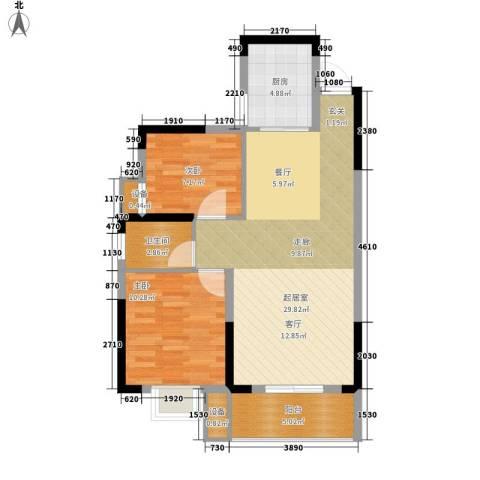 长城南雅名居2室0厅1卫1厨84.00㎡户型图