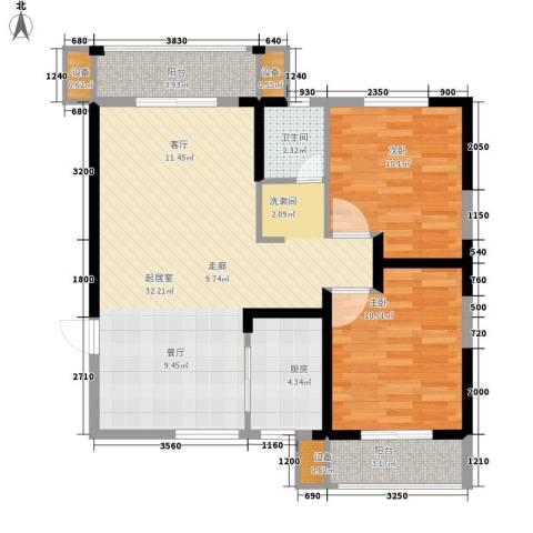 长城南雅名居2室0厅1卫1厨88.00㎡户型图