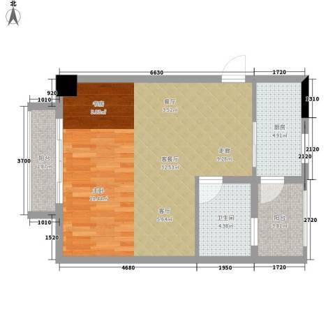 城市森林1厅1卫1厨52.00㎡户型图