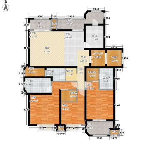 保利湖畔林语3室1厅3卫1厨170.00㎡户型图