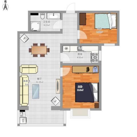 龙府北郡2室1厅1卫1厨89.00㎡户型图