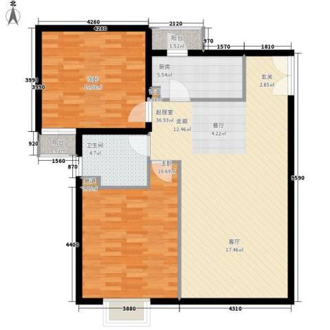 中远两湾城四期2室0厅1卫1厨114.00㎡户型图