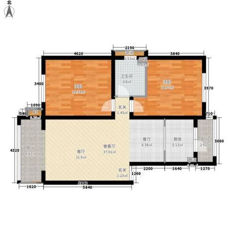 银湖馨苑2室1厅1卫1厨92.97㎡户型图