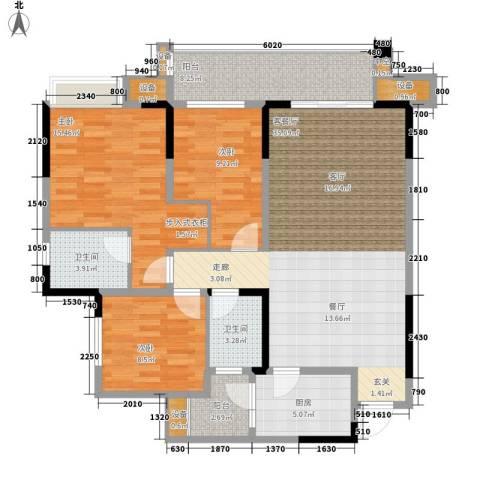 旭辉新里城3室1厅2卫1厨95.00㎡户型图