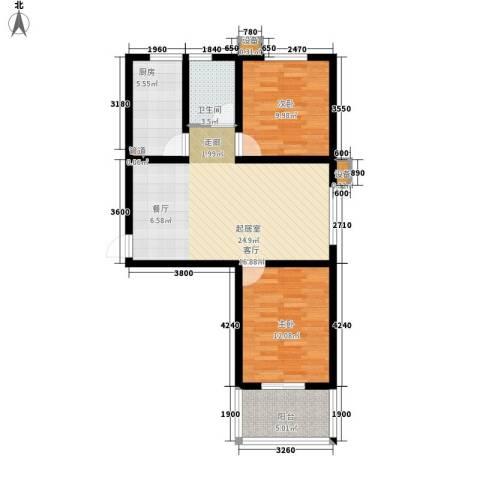 天泽水岸2室0厅1卫1厨88.00㎡户型图