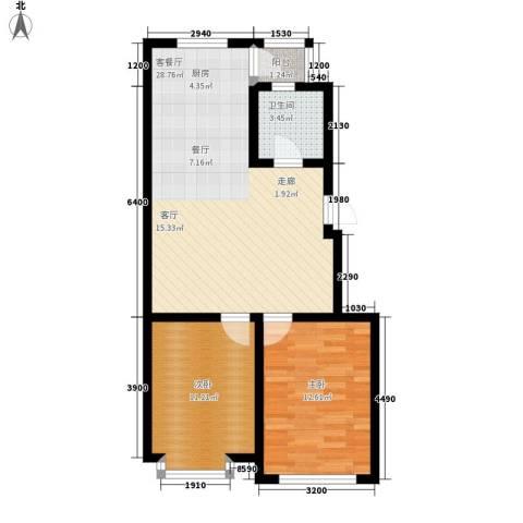 东港国际城2室1厅1卫0厨82.00㎡户型图