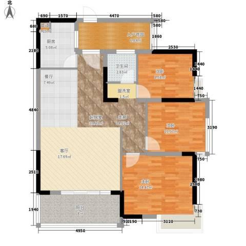 万山花园3室0厅1卫1厨135.00㎡户型图