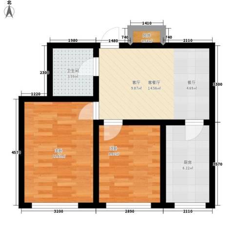 东港国际城2室1厅1卫1厨64.00㎡户型图
