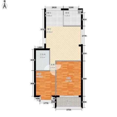 亨泰龙海山庄2室0厅1卫1厨82.00㎡户型图