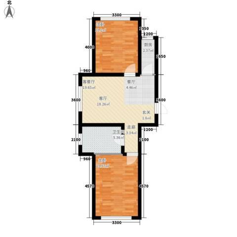 东港国际城2室1厅1卫1厨81.00㎡户型图