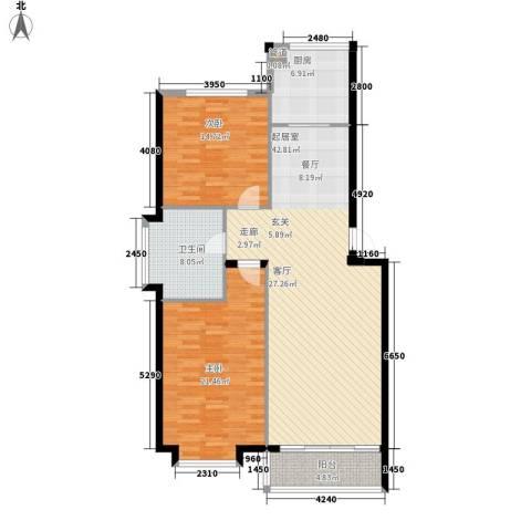 亨泰龙海山庄2室0厅1卫1厨106.00㎡户型图
