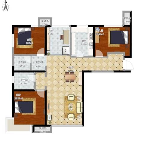 天津湾海景文苑4室1厅2卫1厨141.00㎡户型图