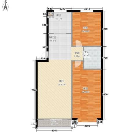 亨泰龙海山庄2室0厅1卫1厨99.00㎡户型图