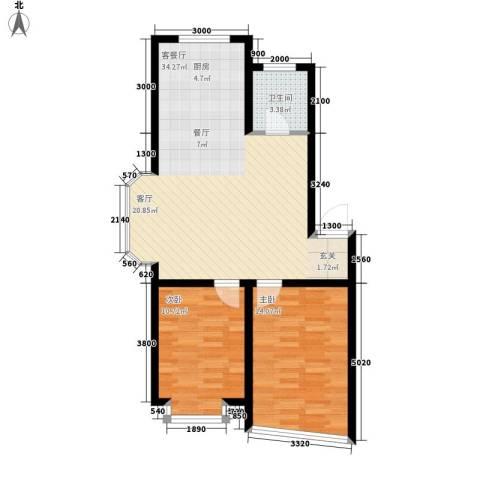 东港国际城2室1厅1卫0厨87.00㎡户型图