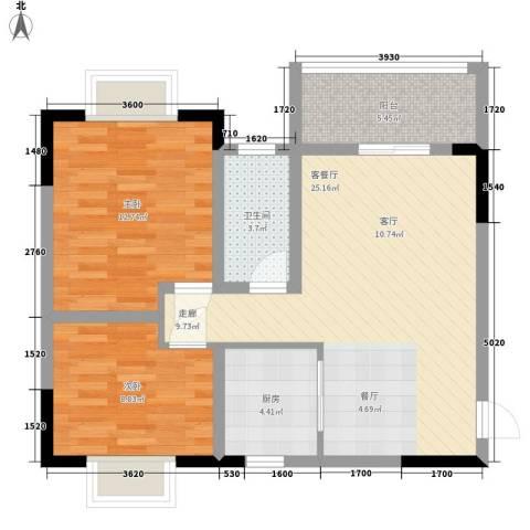 经五纬七单位宿舍2室1厅1卫1厨87.00㎡户型图