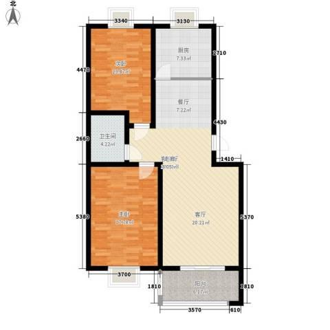 半岛蓝湾2室1厅1卫1厨97.00㎡户型图