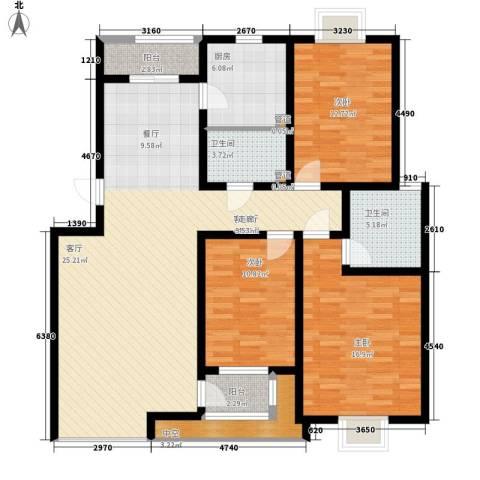 半岛蓝湾3室1厅2卫1厨139.00㎡户型图