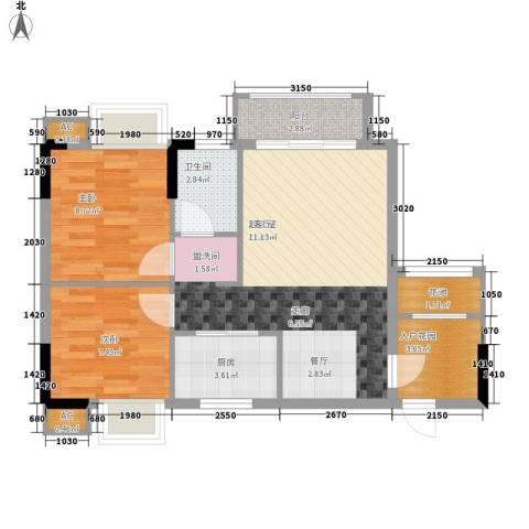 招商假日3652室0厅1卫1厨63.00㎡户型图