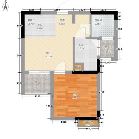 荣升部落格1室1厅1卫1厨38.00㎡户型图