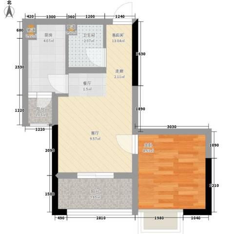 荣升部落格1室1厅1卫1厨37.00㎡户型图