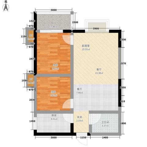 凤城明珠2室0厅1卫1厨75.00㎡户型图