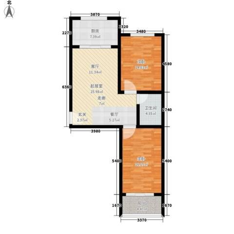 新城小区2室0厅1卫1厨83.00㎡户型图