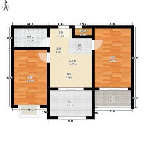 新城小区2室0厅1卫1厨76.00㎡户型图