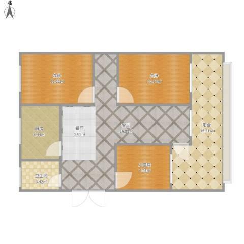 朝晖小区3室1厅1卫1厨111.00㎡户型图