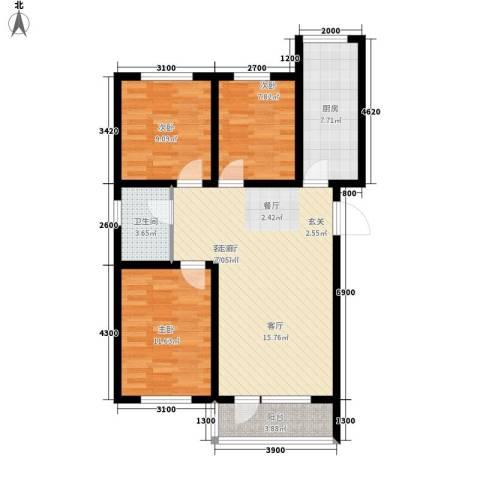 东港国际城3室1厅1卫1厨99.00㎡户型图
