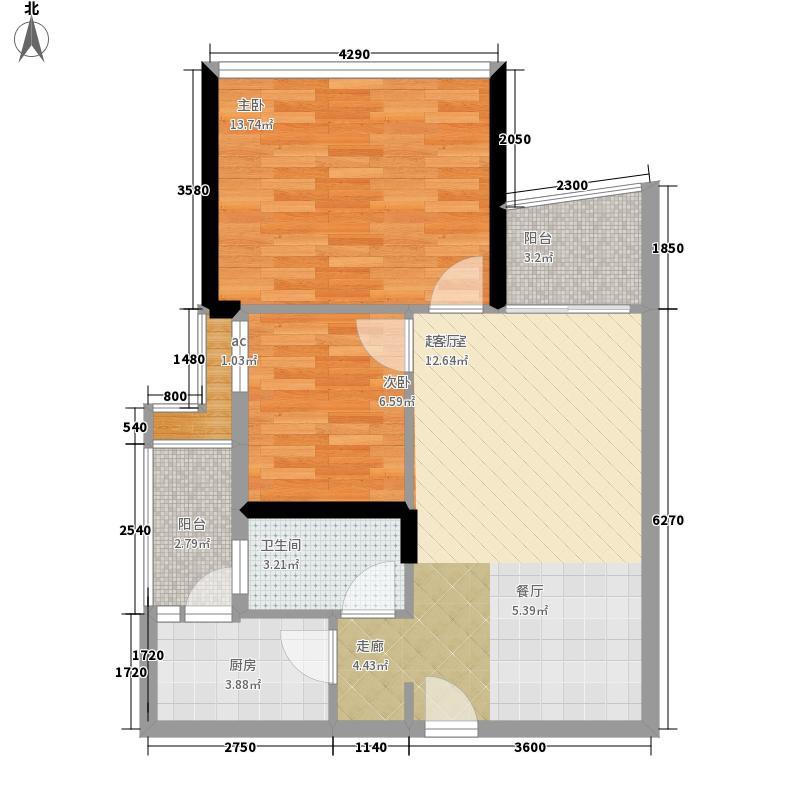 英豪花园69.43㎡A2栋4-28层022面积6943m户型