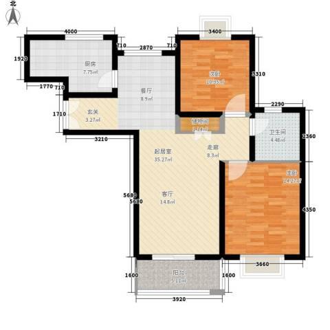 环山路山航宿舍2室0厅1卫1厨90.00㎡户型图