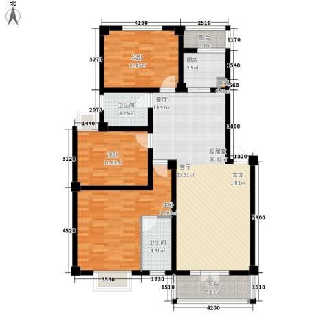 金色华府3室0厅2卫1厨120.00㎡户型图