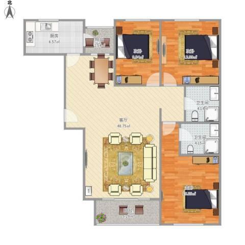 富燕新村3室1厅2卫1厨137.00㎡户型图