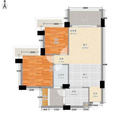 中澳滨河湾2室0厅1卫1厨82.00㎡户型图