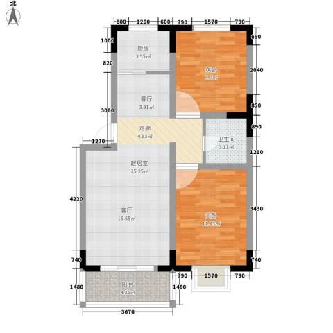 绿茵港湾2室0厅1卫1厨81.00㎡户型图