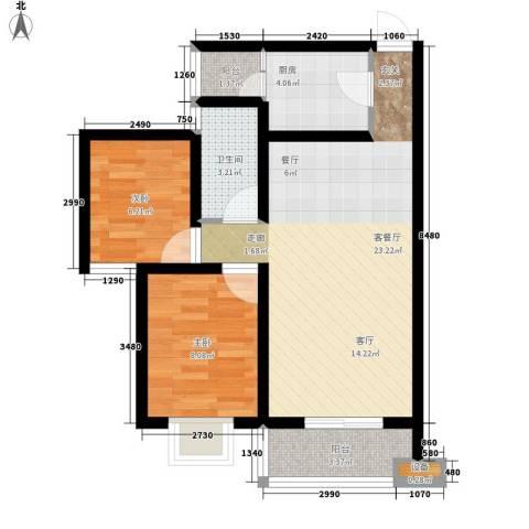 尚高境界2室1厅1卫1厨74.00㎡户型图