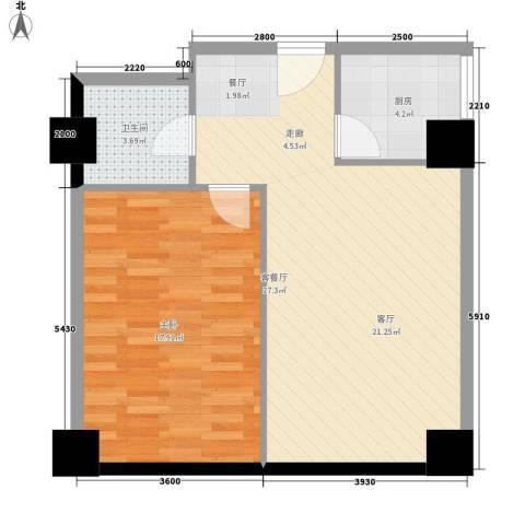 怡和国际1室1厅1卫1厨60.00㎡户型图