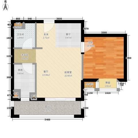 城市摩尔1室0厅1卫1厨66.00㎡户型图
