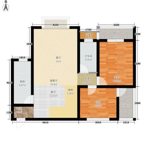 尚高境界2室1厅1卫1厨108.00㎡户型图