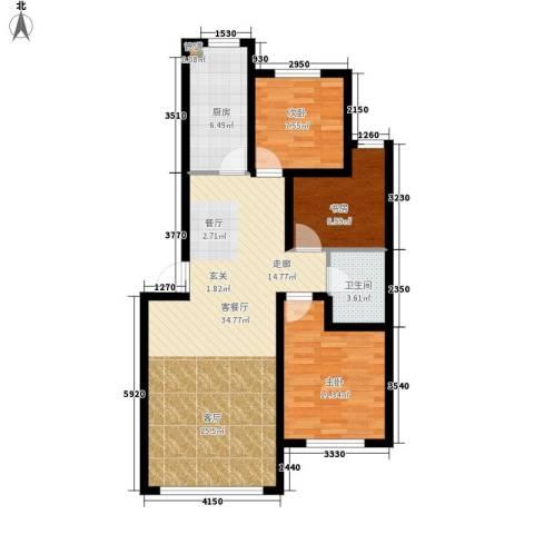 千禧名仕3室1厅1卫1厨98.00㎡户型图
