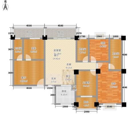 金信阳光在线4室1厅3卫1厨147.49㎡户型图