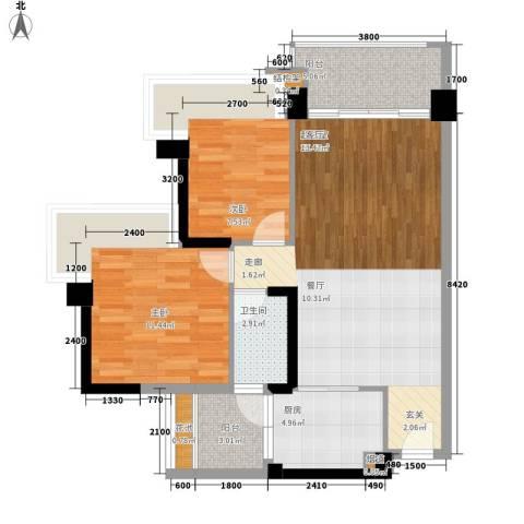 中澳滨河湾2室0厅1卫1厨91.00㎡户型图