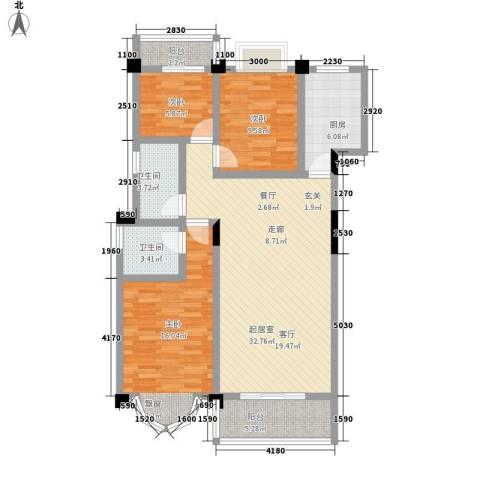 金信阳光在线3室0厅2卫1厨99.14㎡户型图