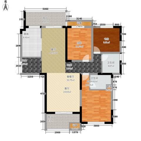 建业凯旋广场3室1厅2卫0厨133.00㎡户型图