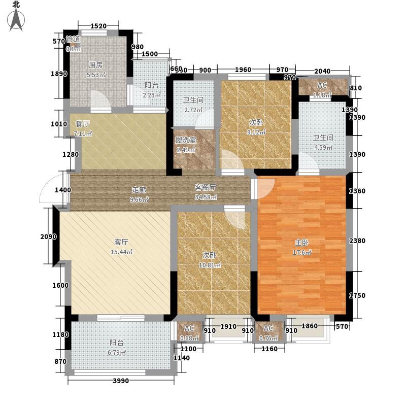 中电颐和家园120.88㎡面积12088m户型
