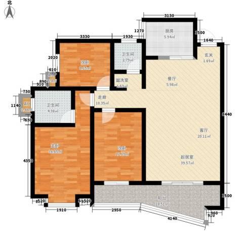 金信阳光在线3室0厅2卫1厨117.30㎡户型图