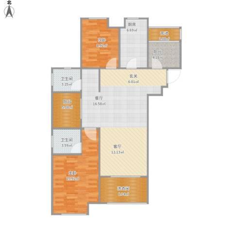 梧桐花园2室1厅2卫1厨123.00㎡户型图